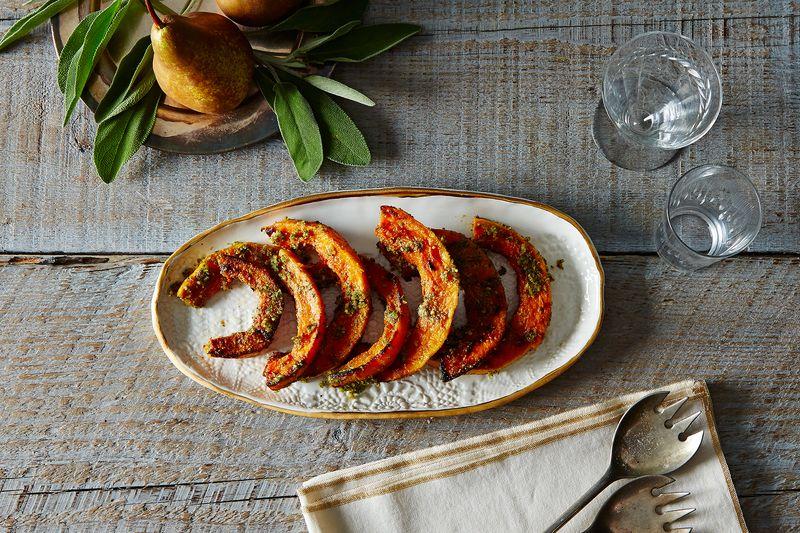 Caramelized Butternut Squash Wedges with a Sage Hazelnut Pesto