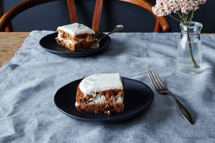 Gena's carrot cake is made with a flaxseed egg replacer.