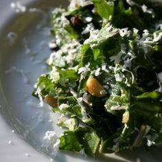 Raw Kale Salad with Pinenuts, Currants, and Ricotta Salata