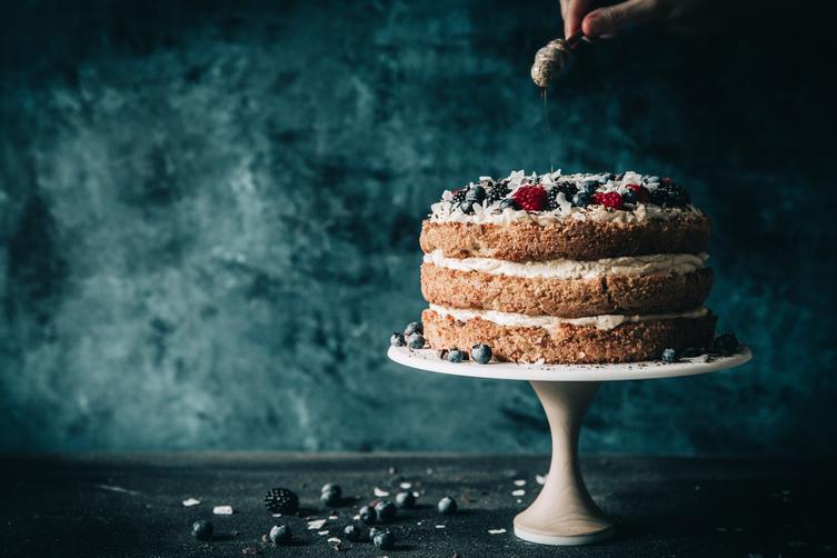 Berries & Cream Almond Cake