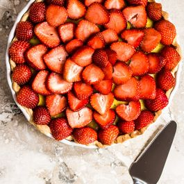 Strawberry and basil custard tart