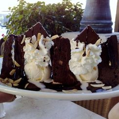 Black and White Chocolate Brownie Sundae