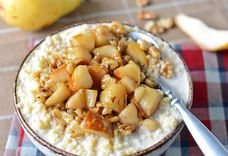 Pears with Brown Sugar, Bourbon, and Millet