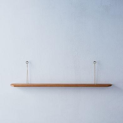Hanging Oak & Brass Curiosities Shelf