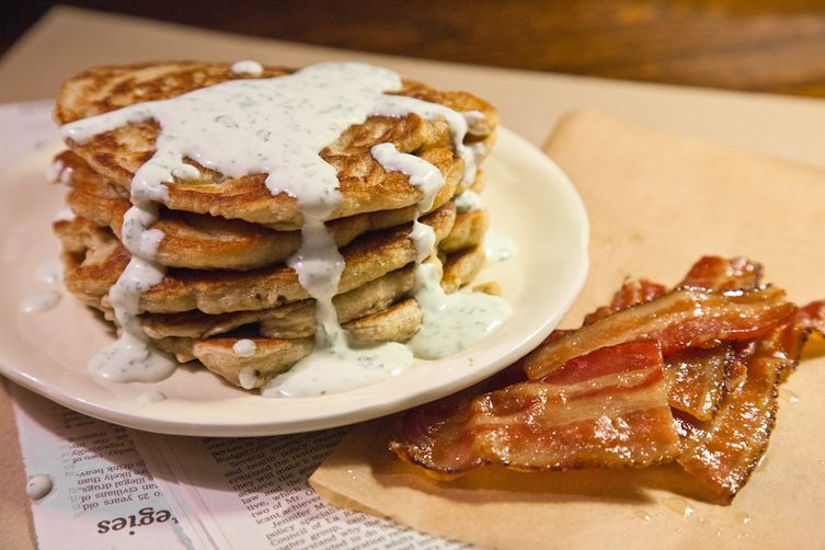 Oatmeal Pancakes with Caramelized Bacon and Herbed Crème Fraiche ...