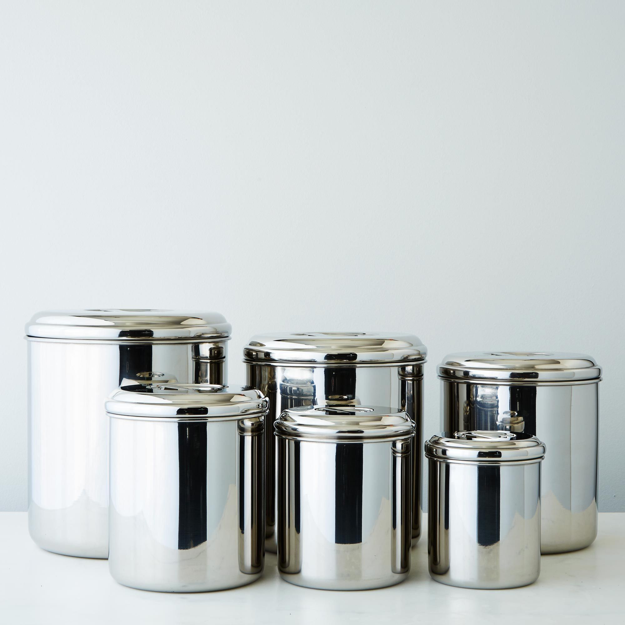 Stainless steel storage containers for kitchen - Stainless Steel Canisters Set Of 6