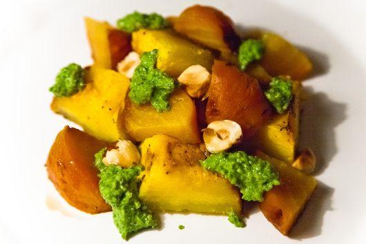 Roasted Beets and Pumpkin with Arugula Hazelnut Pesto
