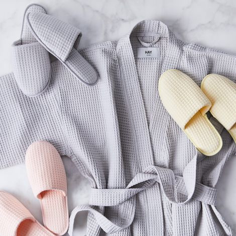Lightweight Waffle Bathrobe & Slippers