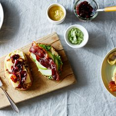 Apple, Bacon, Caramelized Red Onion Sandwiches with Arugula-Thyme Spread