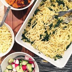 Zucchini, Spinach, Garlic and Lemon Linguini