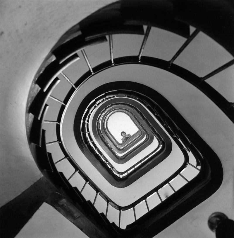 Julia at the top of the stairs, 1955