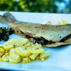 Swiss Chard Stuffed Whole Trout w/ Sauteed Squash & Corn