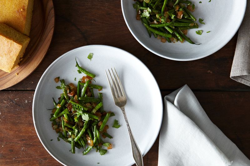 Fried Oniony, Garlicky Green Beans