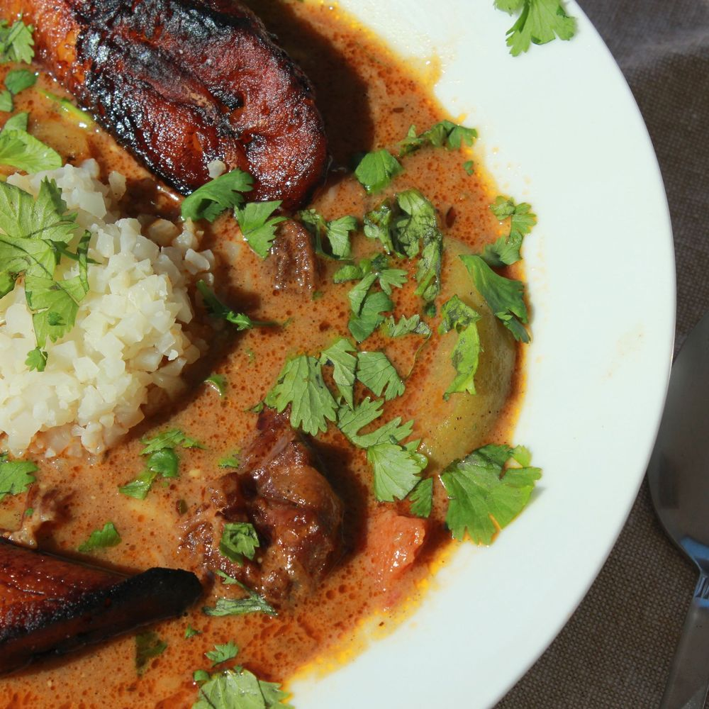 Pressure Cooker Spicy Curried Goat Stew With Pan Fried