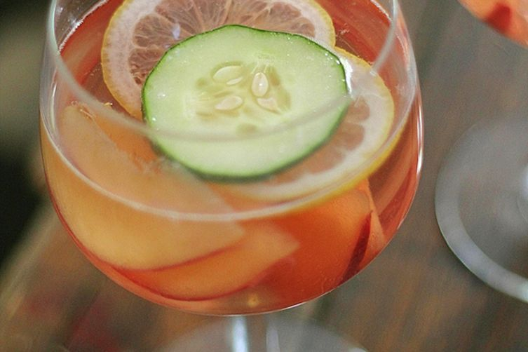 Rosé Sangria with White Peaches and Cucumber