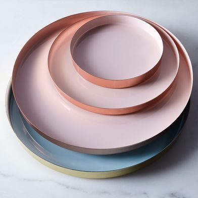 Copper, Brass, and Enamel Colored Louise Trays