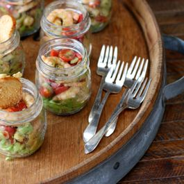 Avocado shrimp cocktails in a jar