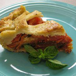 Parmesan Crusted Heirloom Tomato Caprese Pie