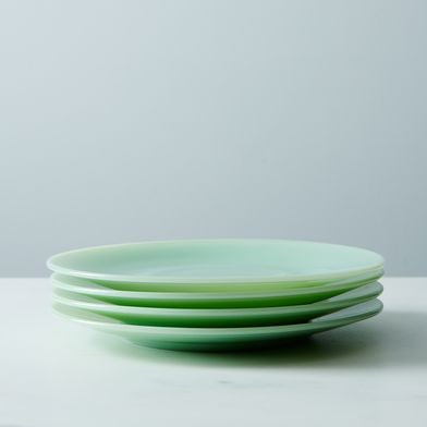 OLD Jadeite Glass Cake Plates (Set of 4)