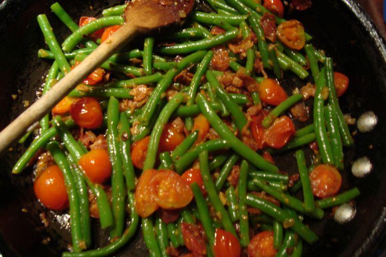 Warm Salad with Cherry Tomato,Haricot Vert and Pancetta