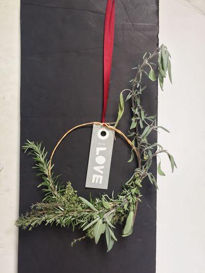 The wreath Jojo's elf made her (shaped like a J!).