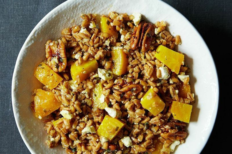 Farro, Golden Beet, and Feta Salad with Pecans and Chive-Sage Dressing