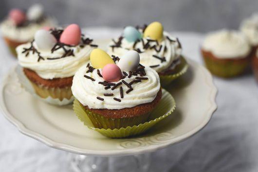 Almond Vanilla Bean Easter Nest Cupcakes