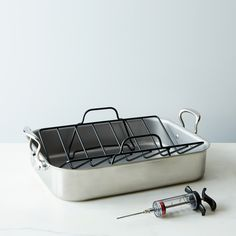 Mauviel Stainless Steel Roasting Pan with Rack & Rosle Flavor Injector