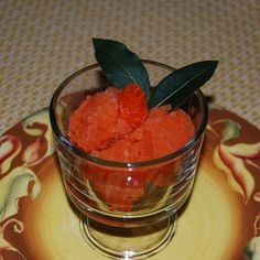 Carrot Sorbet with Candied Carrot Roses