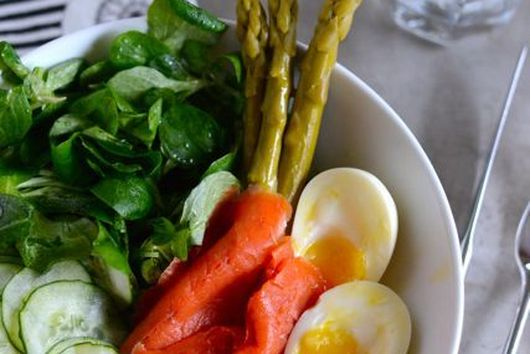 Composed Salad of Smoked Salmon, Cucumber, Mâche, Egg, and Asparagus