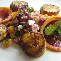 Seared Scallops with Blood Orange, Mint and Feta Salsa