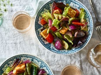 Grilled Halloumi Croutons Are the Only Croutons We're Adding to Our Salads