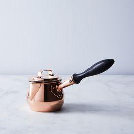 "Vintage Copper English Petite Pot Bellied ""MC"" Saucepan"