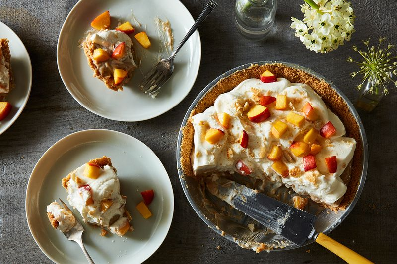 Okay, okay, ready? Ritz cracker crust. Butterscotch pudding. Peaches. Whipped cream.