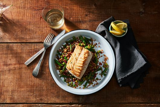 Cod with Farro & Vegetable Pilaf