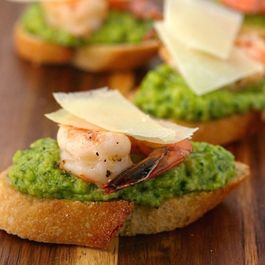 Roasted Shrimp and Fava Bean Pesto Toasts