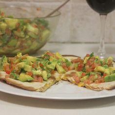 Ham & Cheese Quesadilla with spicy Avocado salad