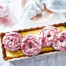 Vanilla Cream Pie With Pretzel Crust and Raspberry Whipped Cream Peonies
