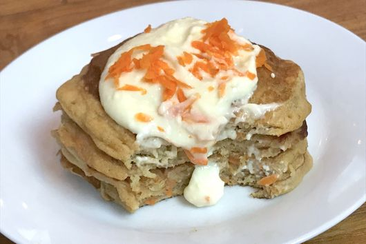 Carrot Cake Pancakes with Maple Cream Cheese Glaze