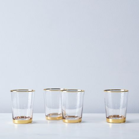 Etched Star Gold-Rimmed Tumblers (Set of 4)