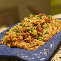 """""""Duck Sauce""""-glazed Bacon and Egg Fried Rice"""