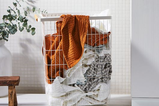 Steel and Wood Slim Rolling Laundry Hamper
