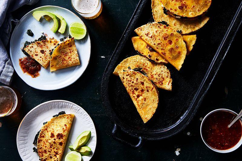 Greens-Stuffed, Cheese-Stuffed Quesadilla