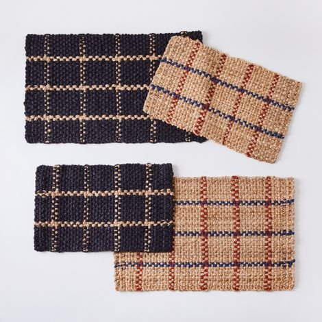 Handwoven Windowpane Jute Doormat