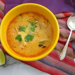 Chicken, chile and tomatillo soup
