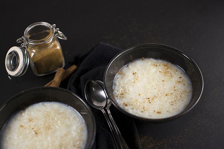 Creamy rice pudding with vanilla