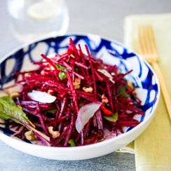 Raw Beet & Cherry Tomato Salad with Manchego Cheese & Walnuts Recipe