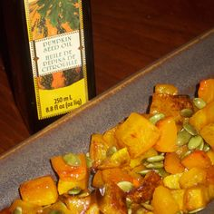 Roasted butternut squash wit pumpkin seeds and pumpkin seed oil