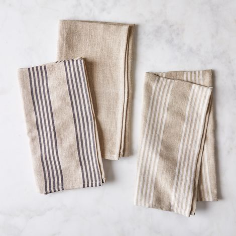 French Oatmeal Linen Classic & Stripe Tea Towels (Set of 2)