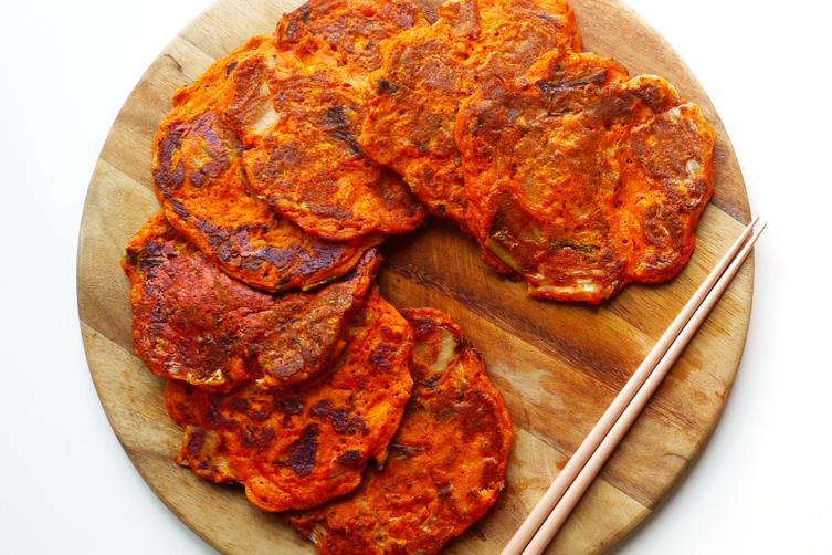 Hangover breakfast - Kimchi and Barley pancakes